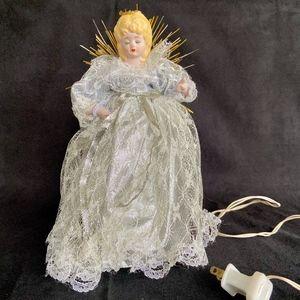 Vintage Light Up Blonde Angel Tree Topper Decor